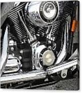 Harley Engine Close-up Rain 3 Canvas Print