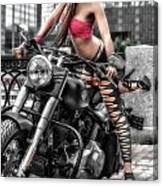 Harley In The City Canvas Print