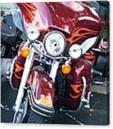 Harley Red W Orange Flames Canvas Print