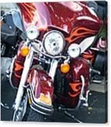 Harley Red W Orange Flames Canvas Print