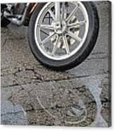 Harley Reflection In Rain  Canvas Print