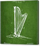 Harp Music Instrument Patent From 1901 - Green Canvas Print