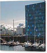 Harpa And The Harbor In Reykjavik Canvas Print