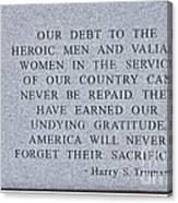 Harry S Truman Quote Memorial Canvas Print