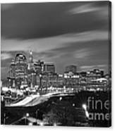 Hartford Skyline At Night Bw Black And White Canvas Print