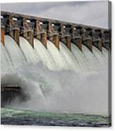 Hartwell Dam With Flood Gates Open Canvas Print
