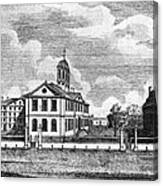 Harvard College, Ca. 1767. From Left Canvas Print