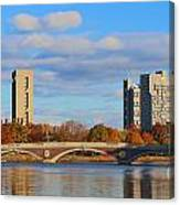 Harvard Towers Over The Charles Canvas Print