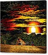 Harvest Moon And Late Barn Canvas Print