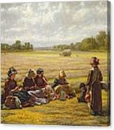 Harvesters Resting In The Sun, Berkshire, 1865 Oil On Canvas Canvas Print