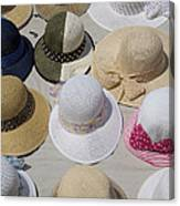 Hats For Sale Next To Marina, Lerici Canvas Print