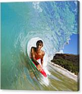 Hawaii, Maui, Makena - Big Beach, Boogie Boarder Riding Barrel Of Beautiful Wave Along Shore. Canvas Print