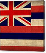 Hawaii State Flag Art On Worn Canvas Canvas Print