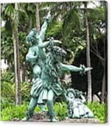 Hawaiian Dancers Statues Canvas Print