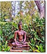 Hawaiian Garden Buddha  Canvas Print