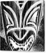 Hawaiian Mask Negative Black And White Canvas Print