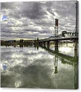 Hawthorne Bridge Over Willamette River Canvas Print