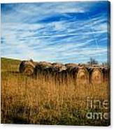 Hay Bales And Contrails Canvas Print