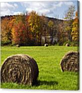 Hay Bales And Fall Colors Canvas Print