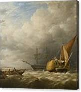Hay Barges In The Thames Estuary Canvas Print