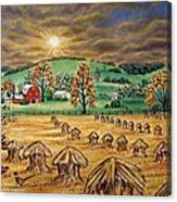 Hay Stacks Canvas Print