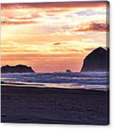 Haystack Rock Beach Walk Sunset Canvas Print