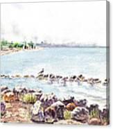 Hazy Morning At Crab Cove In Alameda California Canvas Print