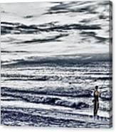 Hdr Black White Color Effect Fisherman Beach Ocean Sea Seascape Landscape Photography Image Photo  Canvas Print