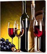 Hdr Style Wine Glasses Bottle Cask And Grapes Canvas Print