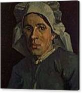 Head Of A Peasant Woman With White Cap Canvas Print