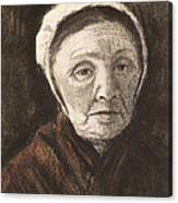 Head Of An Old Woman In A Scheveninger Canvas Print