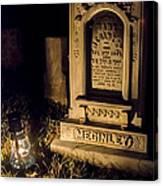Headstone By Lantern Light Canvas Print