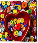 Heart Bowl With Buttons Canvas Print