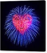 Heart Fireworks Face Canvas Print