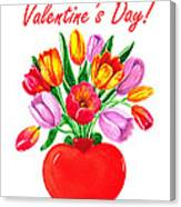 Heart Full Of Tulips Valentine Bouquet  Canvas Print