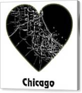 Heart Map Chicago Canvas Print