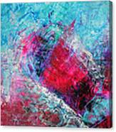 Heart On Ice Abstract Blue Magenta 8x10 Painting Original Contemporary Modern Heart Painting Canvas Print