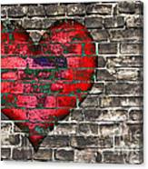 Heart On The Old Wall Canvas Print