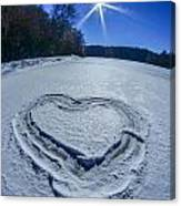 Heart Outlined On Snow On Topw Of Frozen Lake Canvas Print