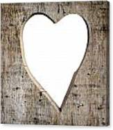 Heart Shape Carved Into A Plank Canvas Print