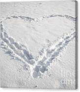 Heart Shape In Snow Canvas Print