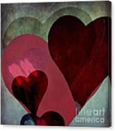 Hearts 9 Square Canvas Print