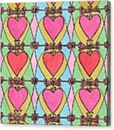 Hearts A'la Stained Glass Canvas Print