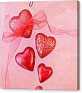 Hearts And Ribbon - Be My Valentine Canvas Print