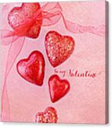 Hearts And Ribbon - Be Mine Canvas Print