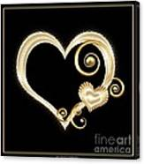 Hearts In Gold And Ivory On Black Canvas Print