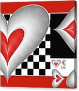 Hearts On A Chessboard Canvas Print