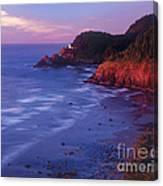 Heceta Head Lighthouse At Sunset Oregon Coast Canvas Print