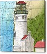 Heceta Head Lighthouse Or Nautical Chart Map Art Cathy Peek Canvas Print