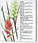 Heliconia Poem Canvas Print